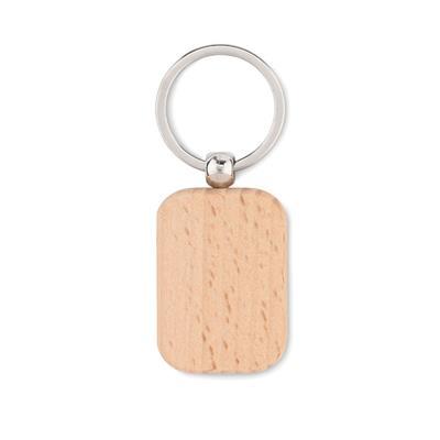 Prostokątny drewniany brelok