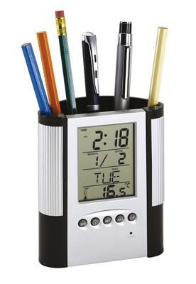 Zegar z wyświetlaczem LCD, BUTLER, srebrny/czarny