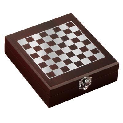 Zestaw do wina z szachami Sublime, brązowy-1122328