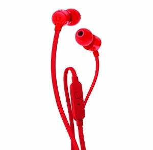 JBL słuchawki przewodowe douszne z mikrofonem T110 czerwone