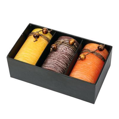 Zestaw świec zapachowych, brązowy/żółty-544446