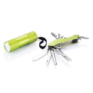 Zestaw narzędzi Quattro, scyzoryk i latarka