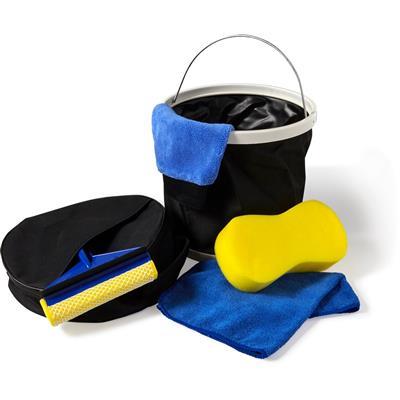 Zestaw do mycia samochodu, wiaderko, szmatka z mikrofibry, gąbka, myjka, ściągaczka do wody-679658