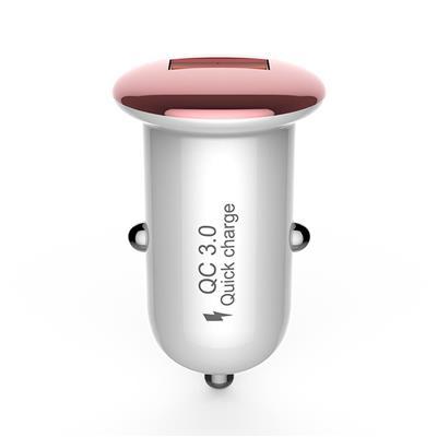 żDevia ładowarka samochodowa Mushroom USB QC 3.0 różowo-złota 18W