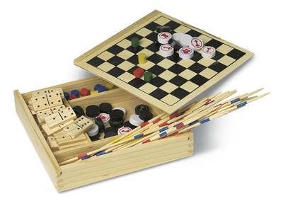 Zestaw gier: domino, mikado, szachy, warcaby,
