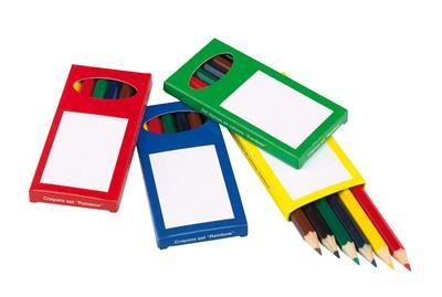 Zestaw kredek, 6szt, RAINBOW, czarny/zielony/czerwony/żółty