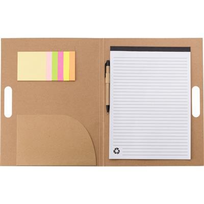 Teczka konferencyjna, notatnik, karteczki samoprzylepne, długopis