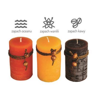 Zestaw świec zapachowych, brązowy/żółty-544447