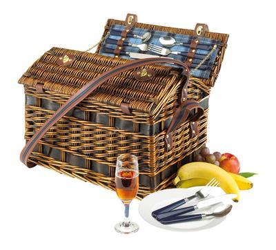Wiklinowy kosz piknikowy, SUMMERTIME, niebieski