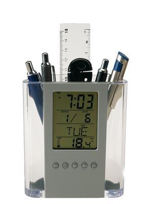Zegar z wyświetlaczem LCD, BUTLER, przezroczysty