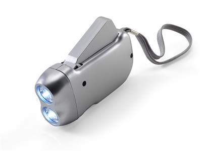 Latarka 2 LED na dynamo, pasek na rękę